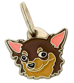CHIHUAHUA LONG HAIRED CHOCOLATE - pet ID tag, dog ID tags, pet tags, personalized pet tags MjavHov - engraved pet tags online